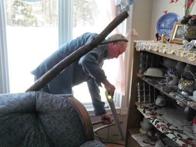 man saws cat tree