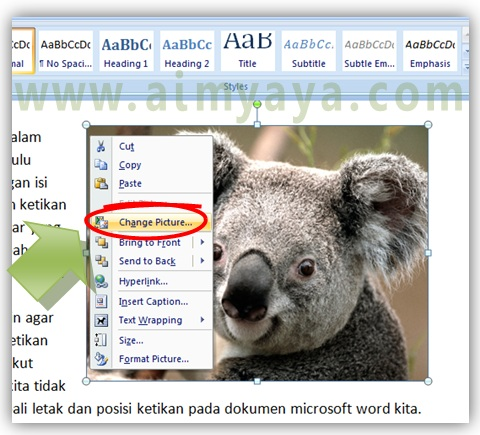 Gambar: Cara mengganti gambar di Microsoft Word