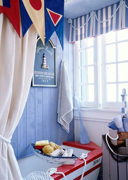 Decor beach bathroom on pinterest beach bathrooms kids beach bathroom and rope mirror - Nautical decor bathroom ...