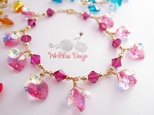 Wire wrapped swarovski crystal bracelet by Wirebliss - pink