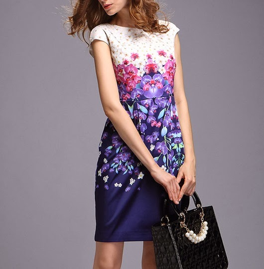 Purple Dendrobium Orchid Print Dress