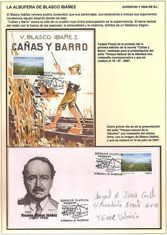 Colección filatélica sobre Blasco Ibáñez y Valencia