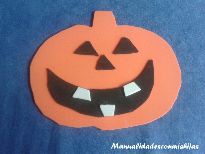 Manualidades con mis hijas calabaza de foami para halloween - Calabazas de halloween manualidades ...