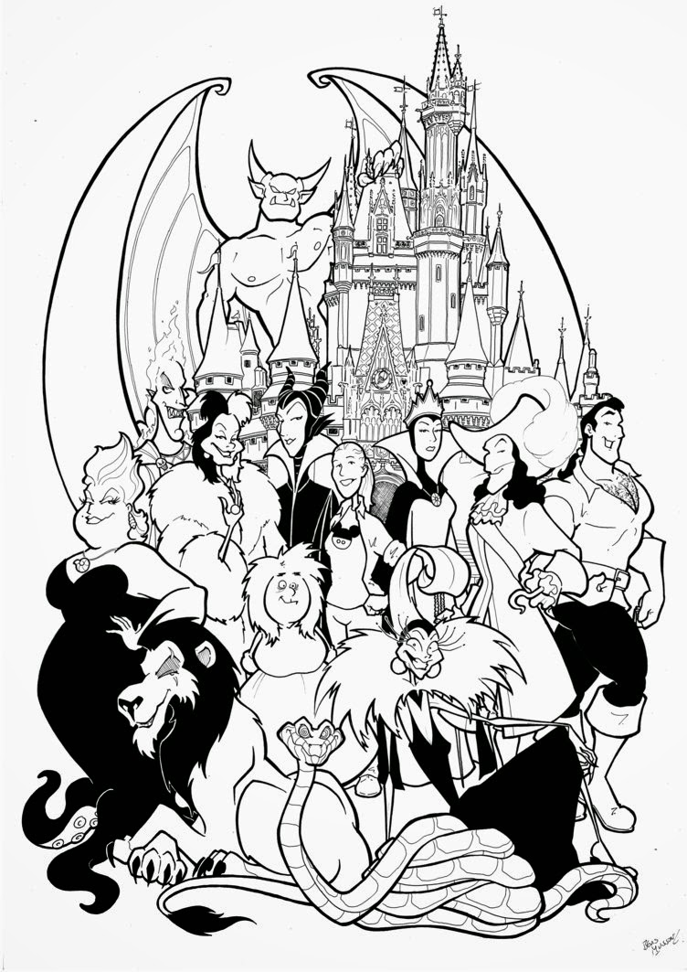Coloring pages disney printable - Free Disney Villains Coloring Pages
