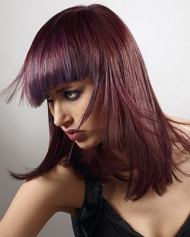 Glam Purple Hair Highlights Idea 2014