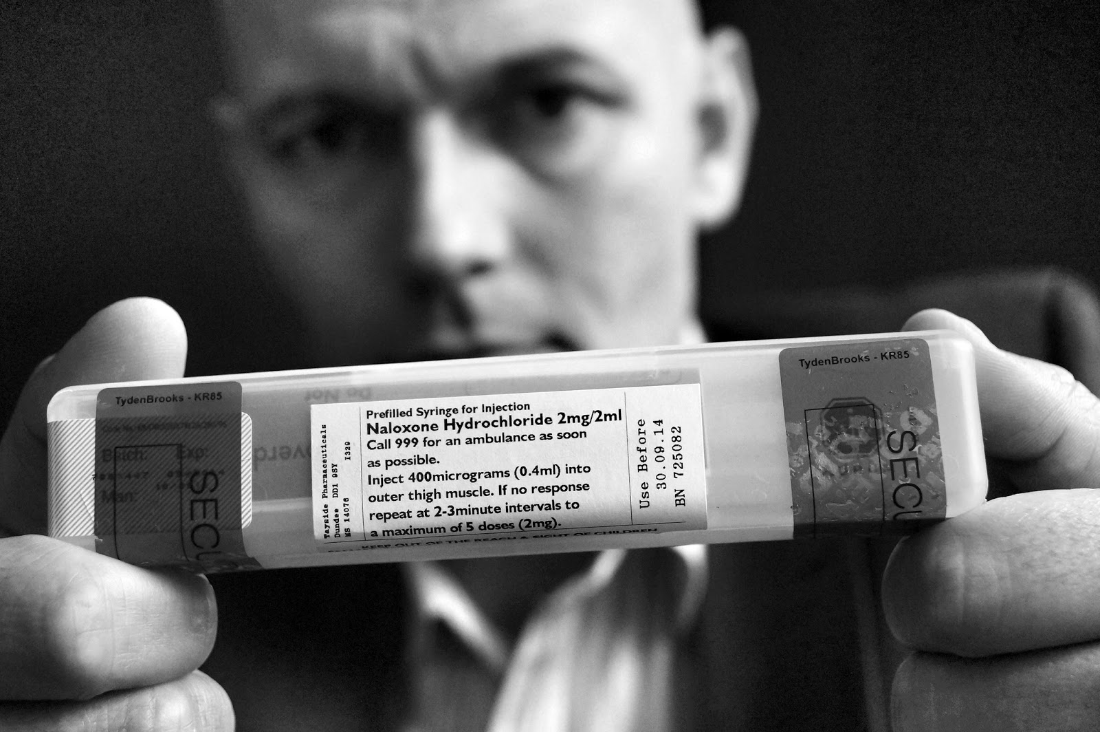 Stephen Malloy with naloxone