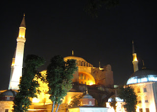The Haghia Sophia at night.