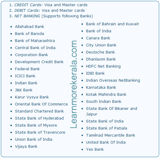 Kerala State Electricity Board (KSEB) online payment Supporting payment options and banks