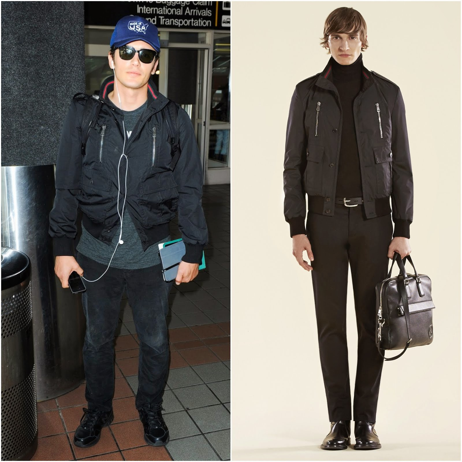00O00 Menswear Blog: James Franco's Gucci black light padded bomber jacket - LAX airport August 2013