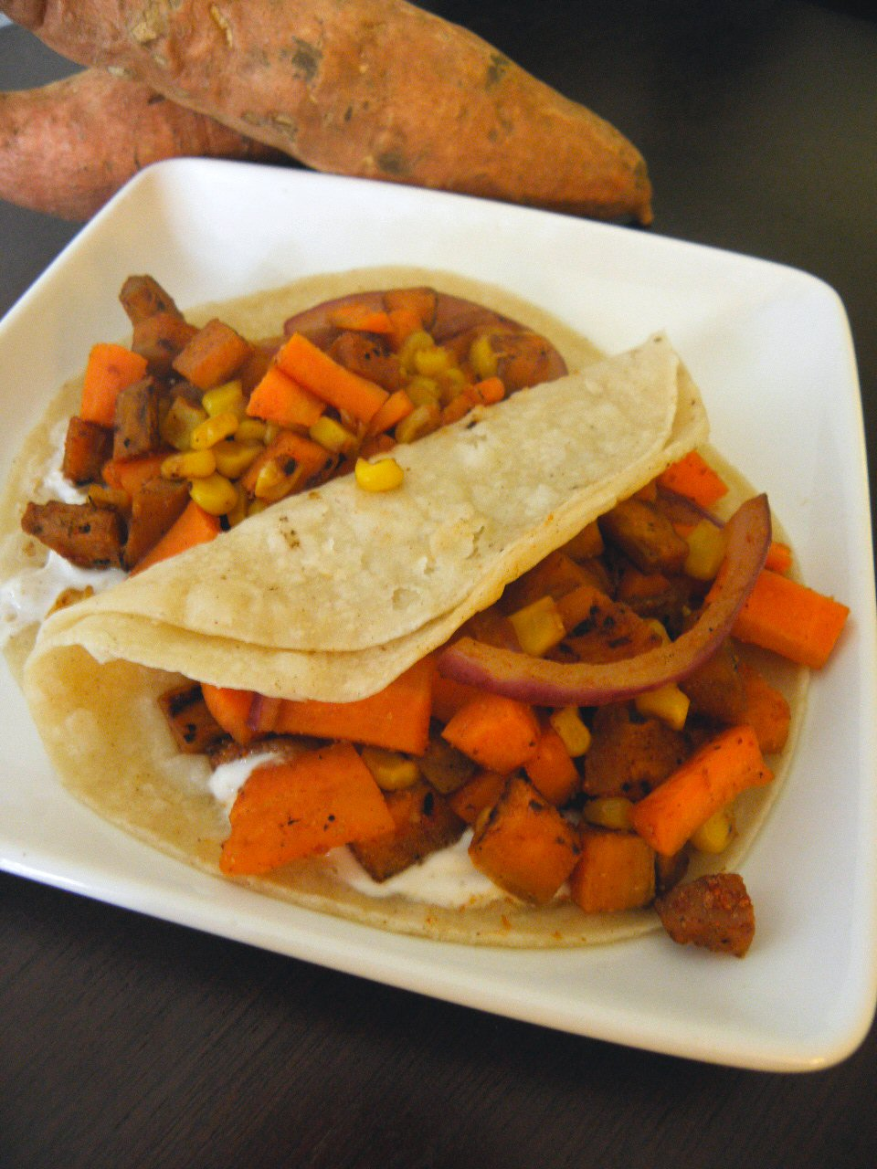 Cinnamon Freud: Sweet Potato Tacos with Yogurt Sauce