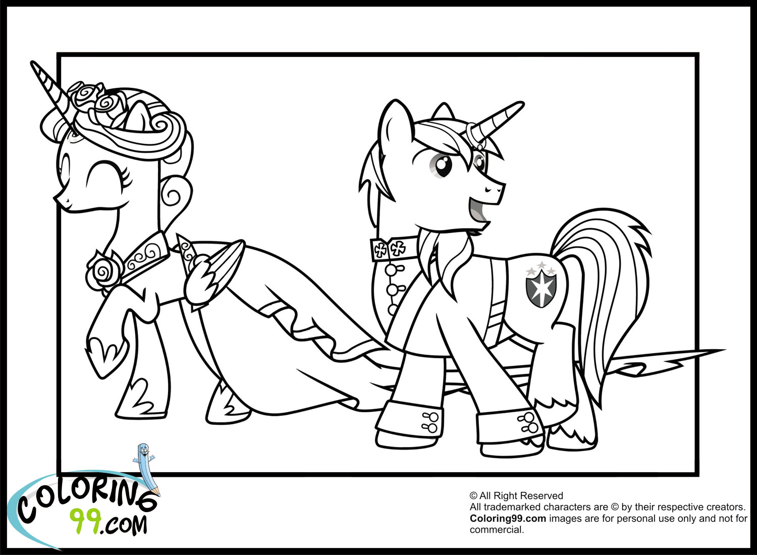 My Little Pony Coloring Pages Princess Cadence Wedding : Shining armor coloring pages team colors