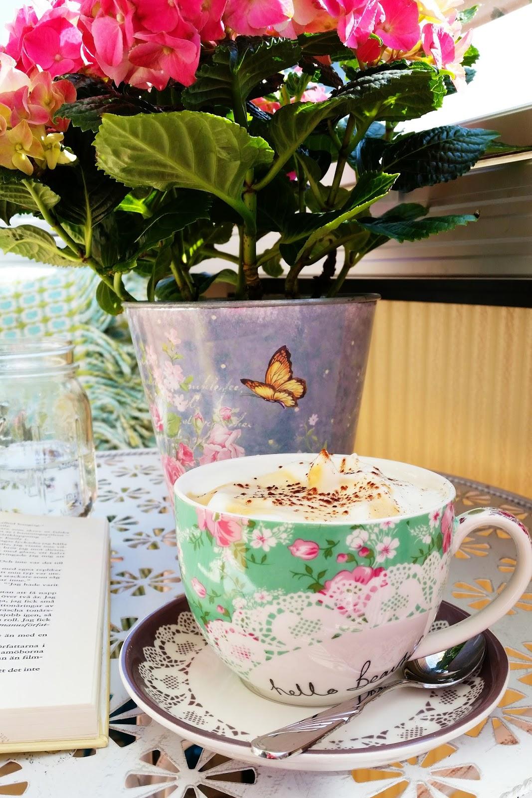coffee, balcony, home, spring, book