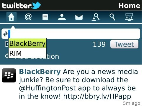 Tampilan Twitter in Blackberry