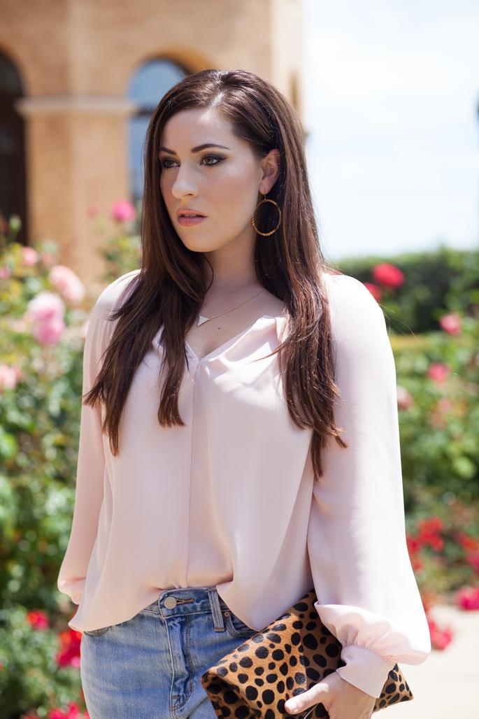 pink blouse, leopard clare v. clutch blogger