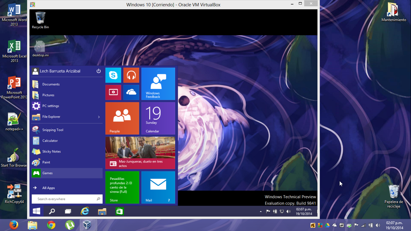 Máquina Virtual de Windows 10 Technical Preview