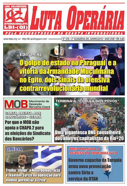 LEIA A EDIÇÃO DO JORNAL LUTA OPERÁRIA, Nº 238, 2ª QUINZENA DE JUNHO/2012