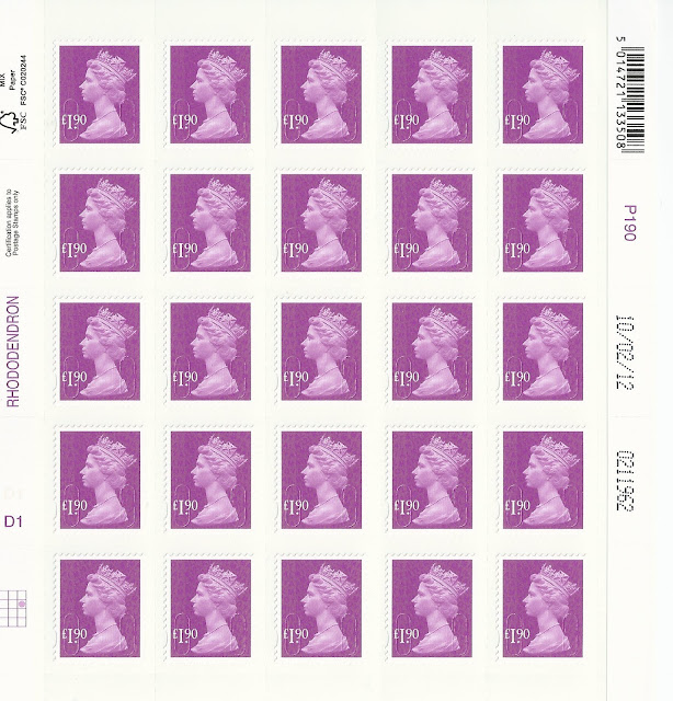 Sheet of £1.90 stamps issued 25-4-12.
