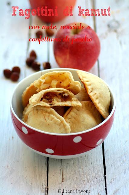 fagottini di kamut alle mele, nocciole e confettura di pesche ( senza uova, zucchero e lattosio )
