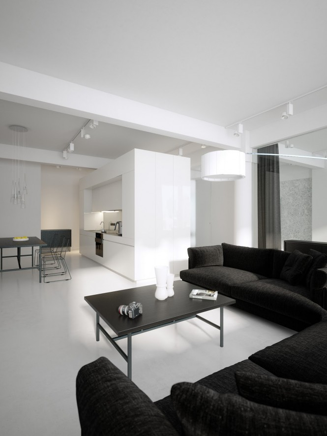 Modernos lofts minimalistas en blanco y negro decoracion - Loft decoracion interiores ...
