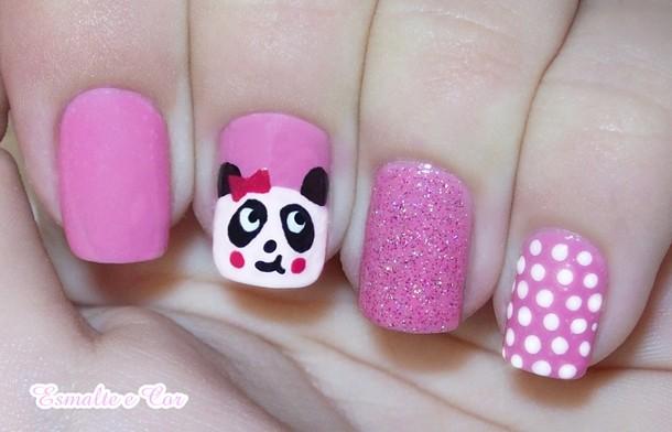 unhas-de-panda-nails-panda-nails-blog-esmalte-e-cor-unha-rosa-lacinho-panda-de-lacinho-bolinhas-brancas-branco-com-rosa