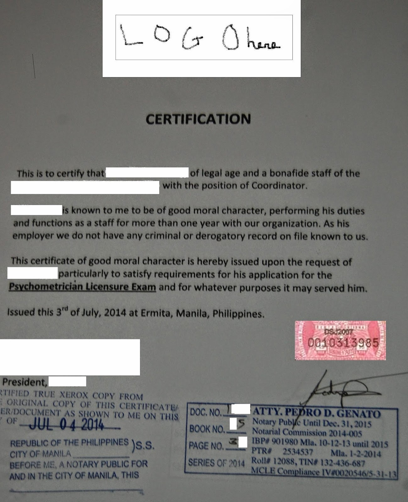 Philippine psychometricians licensure exam reviewer sample of sample of a work certificate of good moral character yelopaper Gallery