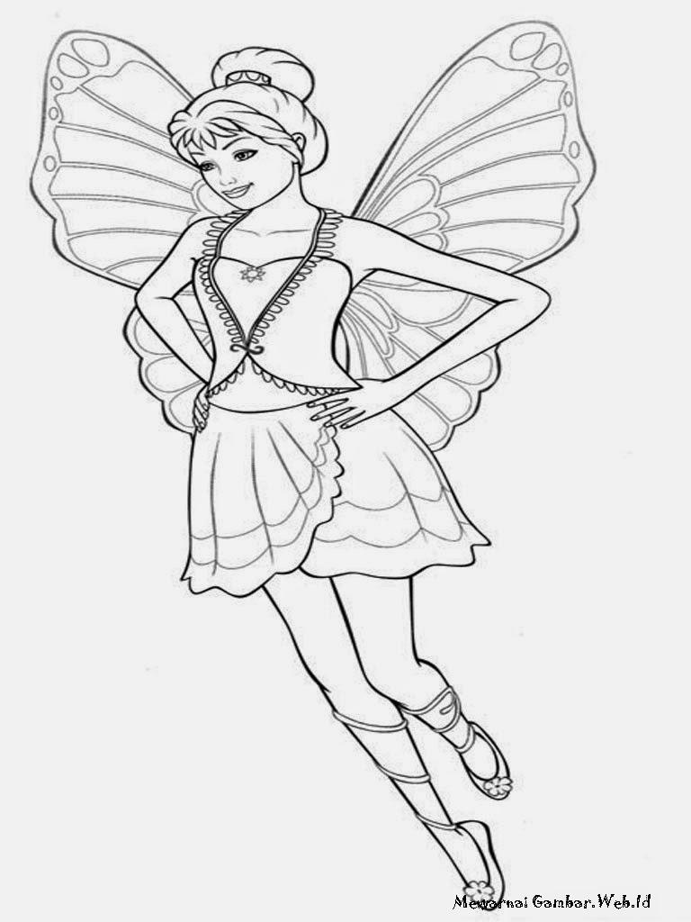 Gambar Mewarnai Barbie Mariposa