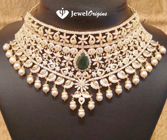 Gold And Diamond Jewellery Designs Indian Diamond Choker: Jewelorigins.com-Indian Designer Gold