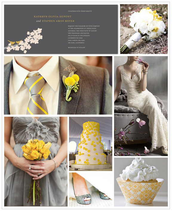 Gray and yellow wedding theme Check out these colors for a wedding