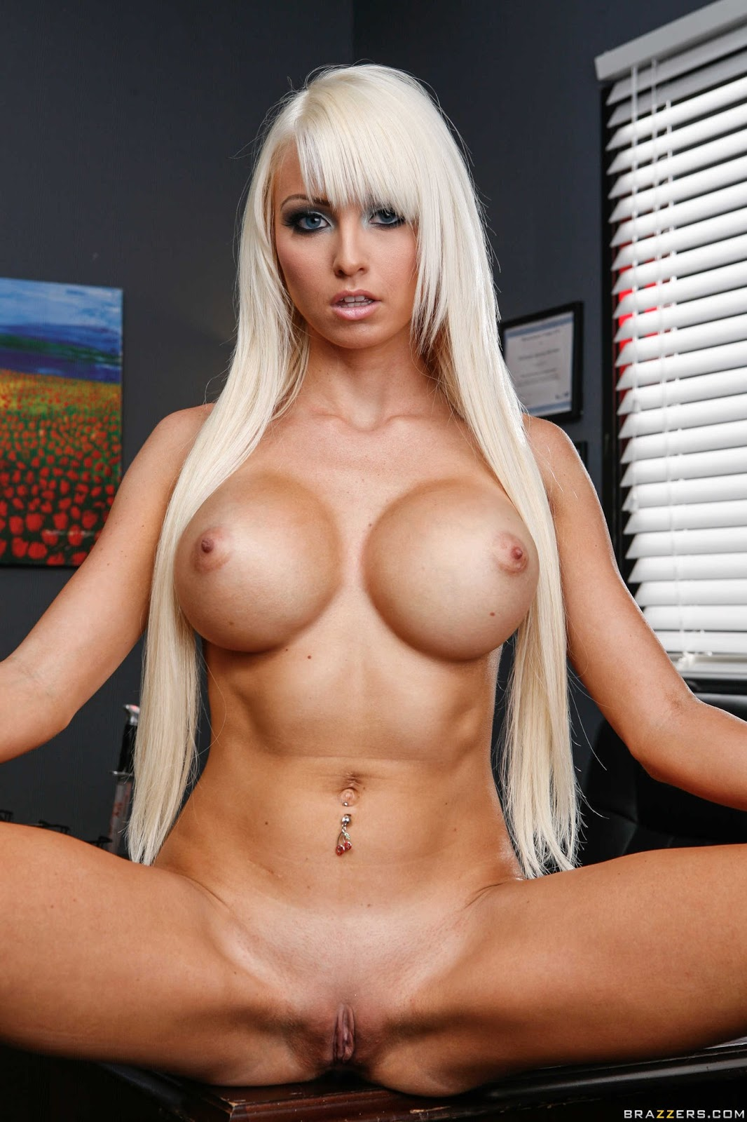 image Rikki six is a blonde babe with huge fake tits she has come