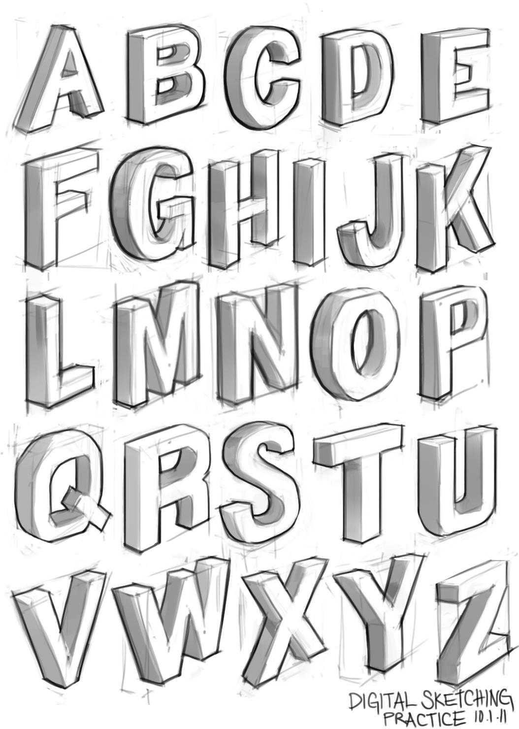 Cool Font Alphabet Letters moreover 3D Graffiti Fonts Bubble Letters ...