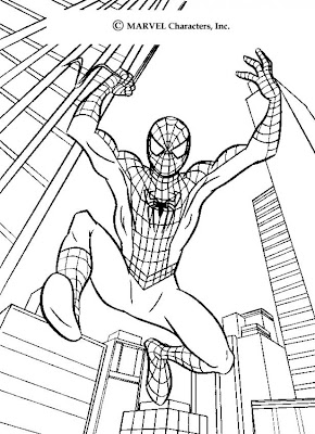 spiderman coloring pages jump