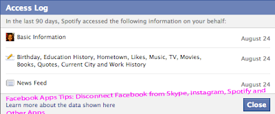 Facebook Apps Tips: Disconnect Facebook from Skype, Instagram, Spotify and   Other App