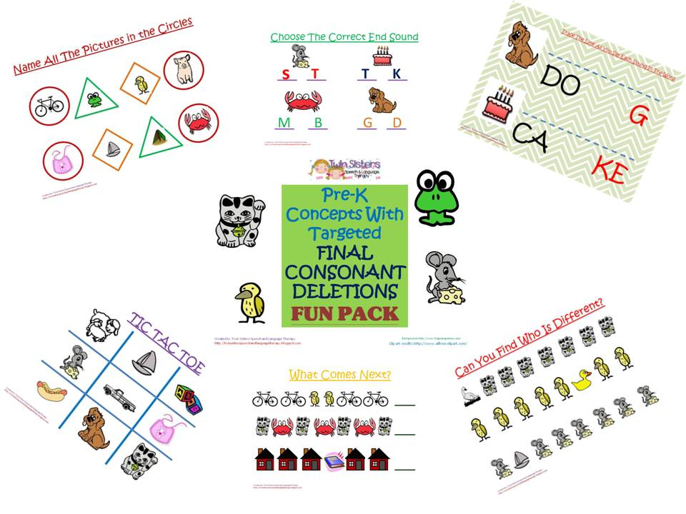 Twin Speech Language Literacy LLC updated Post 4102013 Pre – Final Consonant Deletion Worksheets