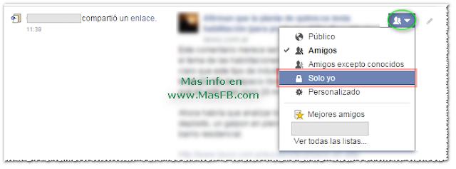 Solo yo en el Registro de Actividad en Facebook + MasFB