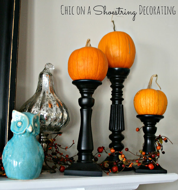 Aqua & Orange Fall Mantel by Chic on a Shoestring Decorating.