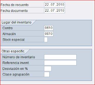 MI10 crear inventario SAP