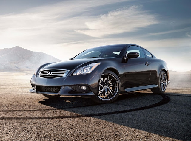 Front 3/4 view of black 2011 Infiniti G37 in desert with tire tracks
