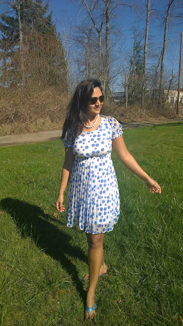 white pearls, white dress with polka dots, Indian fashion blogger, ananya tales, indian girl in summer dress, polka dots