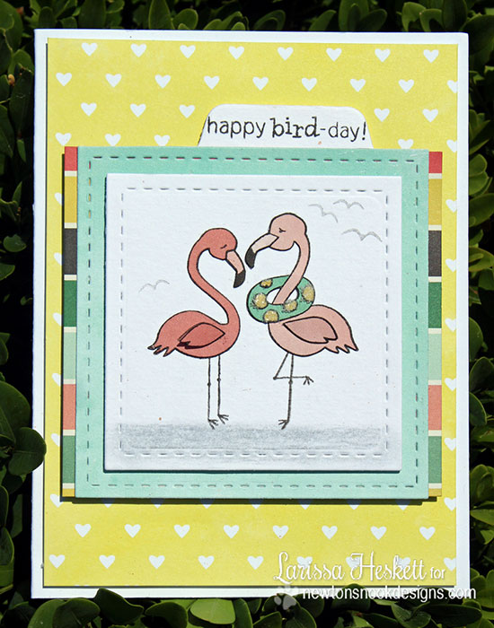 Happy Bird-Day Flamingo Card by Larissa Heskett | Flirty Flamingos Stamp set | Newton's Nook Designs