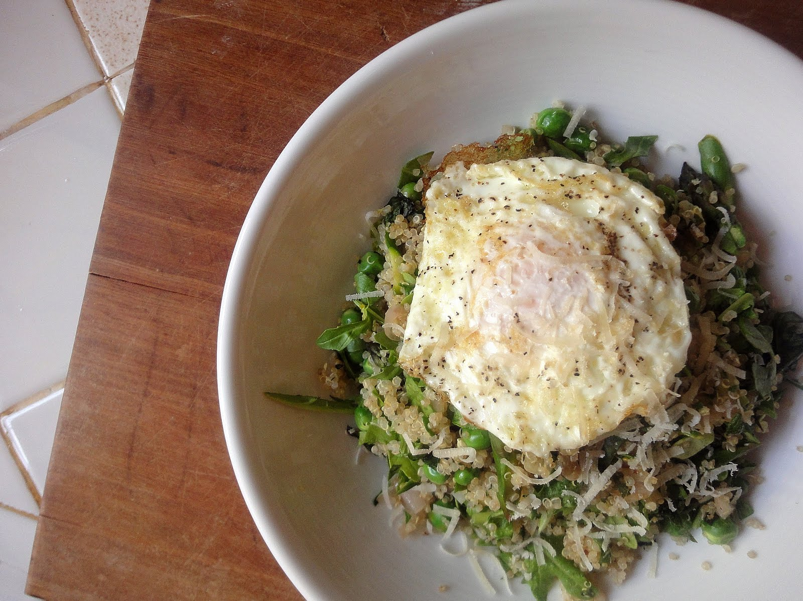 Warm Quinoa Salad With Fried Egg, Spring Vegetables And Herbs: A Few Small  Tweaks
