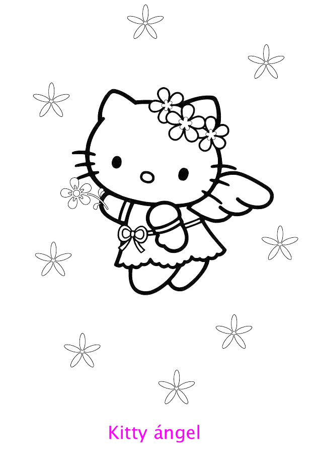 Hello Kitty ángel para colorear : Locos por Hello Kitty