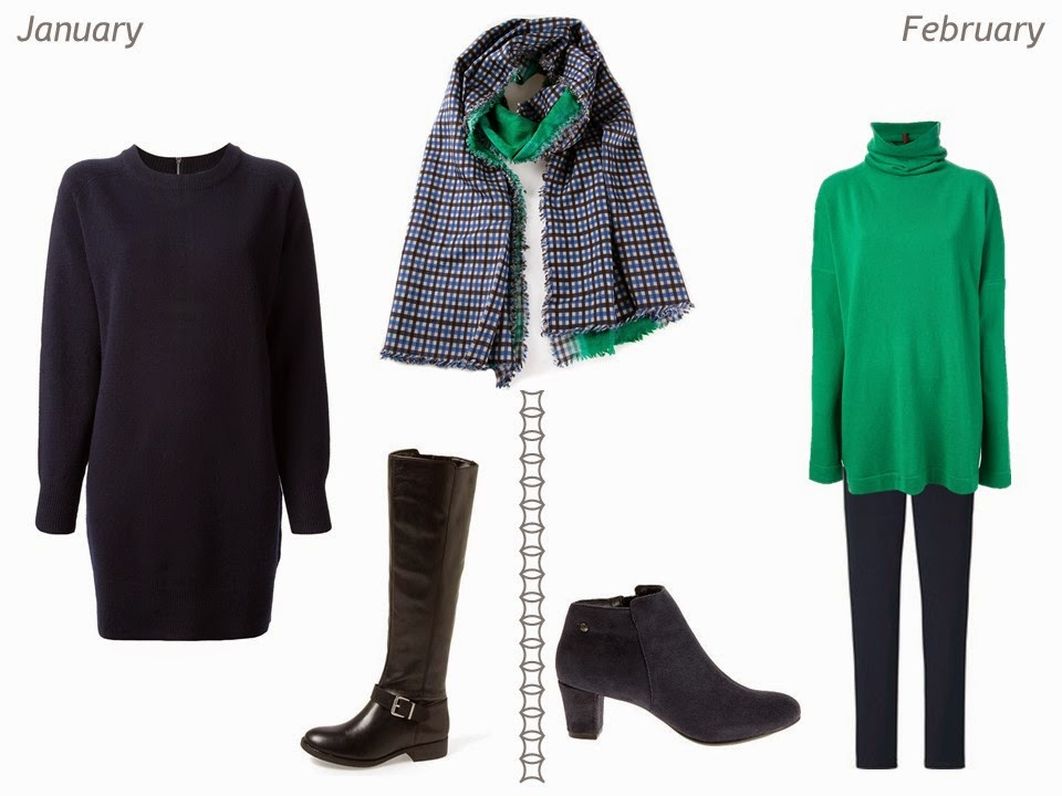 navy and green outfits for cold weather January and February