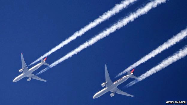 Contrails are believed to have a significant impact on global warming (Credit: Getty Images) Click to enlarge.