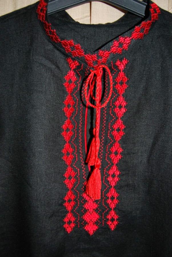 Мужские вышиванки из черного льна с геометрическими узорами
