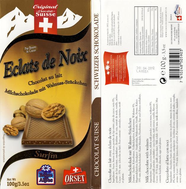 tablette de chocolat lait gourmand orset la route des alpes lait eclats de noix