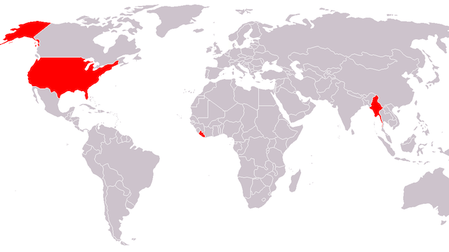 Map of countries still not using metric system