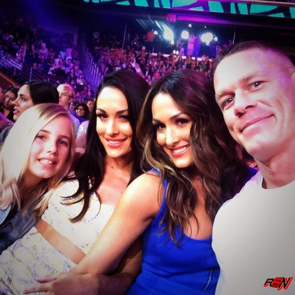 John Cena With Bella Twins At The Teen Choice Awards.