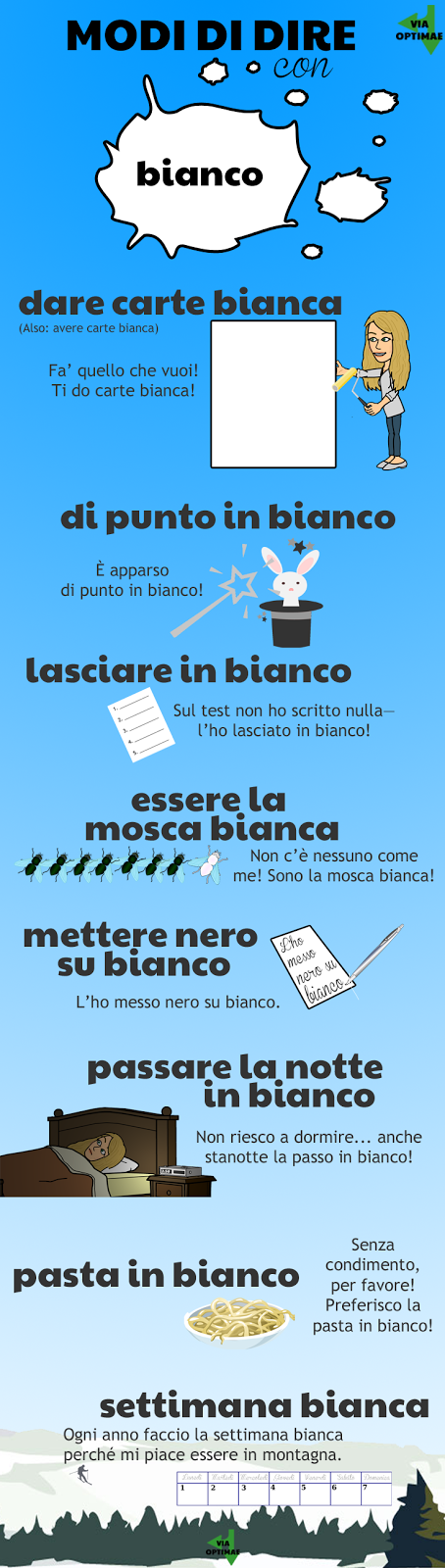 Modi di dire: BIANCO, idiomatic expressions, examples, and illustrations, learn Italian, Via Optimae, www.viaoptimae.com