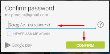 confirmasi password google play