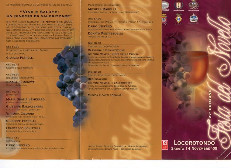 """14/11/2009 Locorotondo: cliccare su immag  per V I D E O: """"Festa del vino novello"""""""
